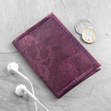 Load image into Gallery viewer, Bifold Cardholder in Leaf Leather - Dark Lavender