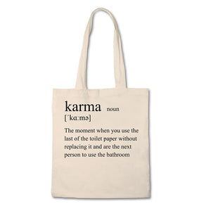 Funny Tote Bag - Definition of Karma - 100% Cotton Canvas Bag - Vegan Gift - Reusable Shopping Bag - Shopping Tote - UK Free Delivery
