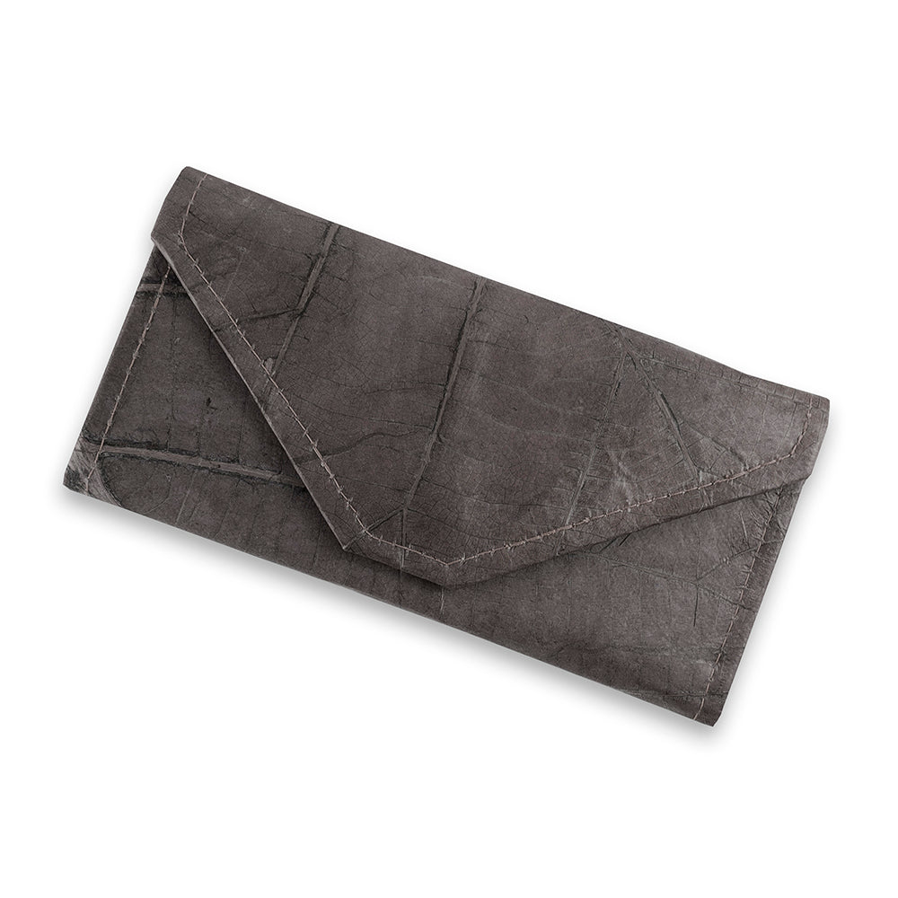 Ladies Continental Wallet in Leaf Leather - Pebble Black