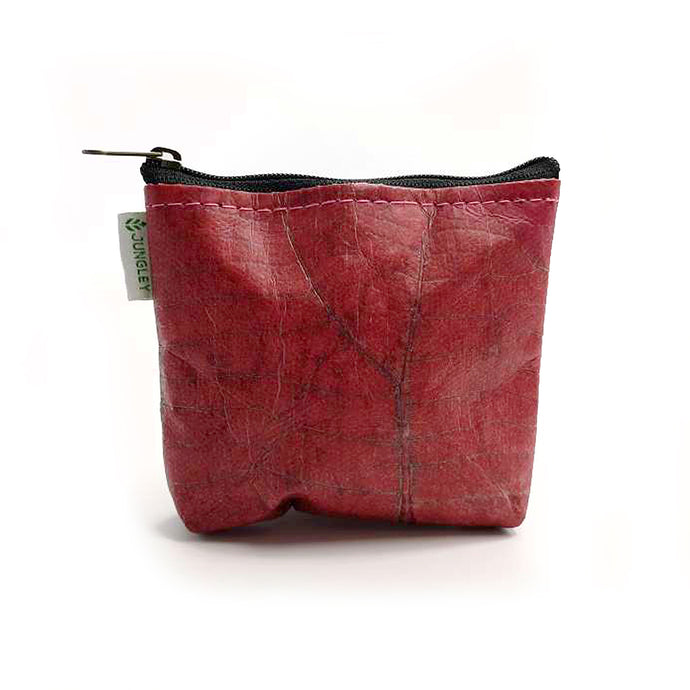 Vegan Teak Leaf Leather Straight Edge Coin Bag in Pink