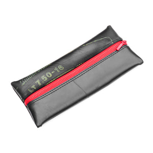 Upcycled Truck Tyre Rubber Flat Pencil Case - Red