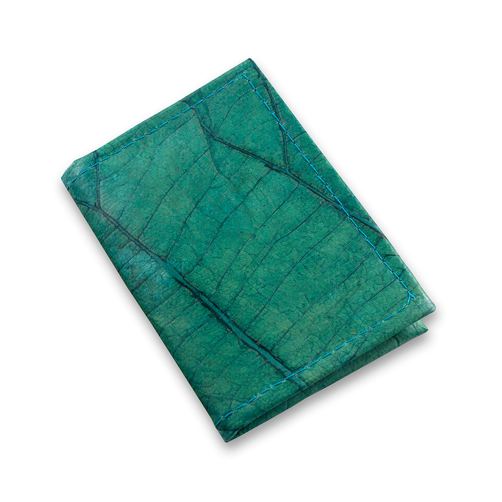Bifold Cardholder in Leaf Leather - Teal
