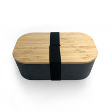 Load image into Gallery viewer, Recycled Bamboo Black Lunch Box