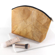 Load image into Gallery viewer, Make Up Bag Large in Leaf Leather - Cinnamon Orange