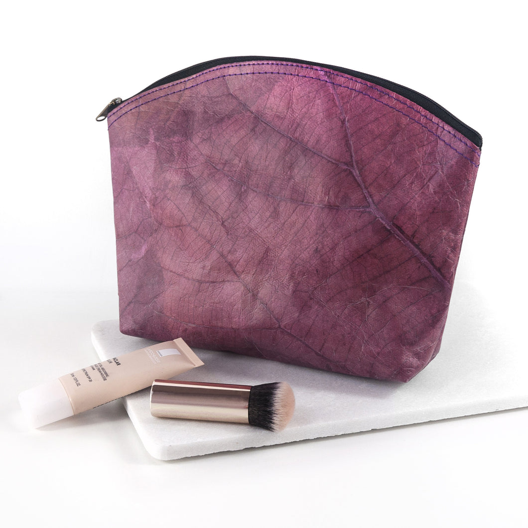 Make Up Bag Large in Leaf Leather - Dark Lavender