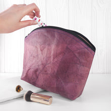 Load image into Gallery viewer, Make Up Bag Large in Leaf Leather - Dark Lavender