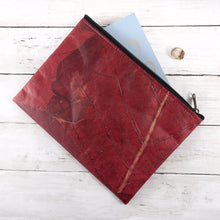 Load image into Gallery viewer, Clutch Bag in Leaf Leather - Berry Red