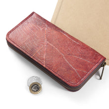 Load image into Gallery viewer, Ladies Zip Over Wallet in Leaf Leather - Berry Red