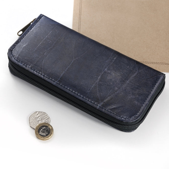 Ladies Zip Over Wallet in Leaf Leather - Midnight Blue