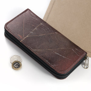Ladies Zip Over Wallet in Leaf Leather - Chestnut Brown
