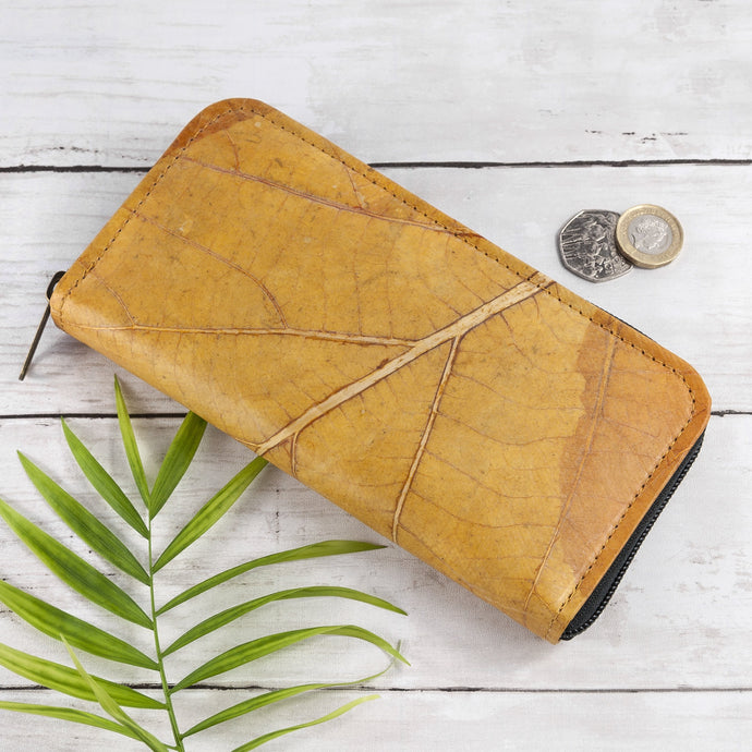 Ladies Zip Over Wallet in Leaf Leather - Tuscan Yellow