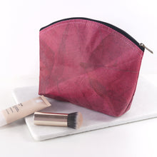 Load image into Gallery viewer, Make Up Bag Medium in Leaf Leather - Coral Pink