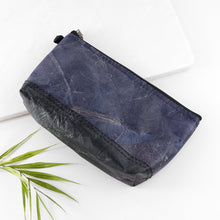 Load image into Gallery viewer, Riverside Wash Bag in Leaf Leather - Midnight Blue