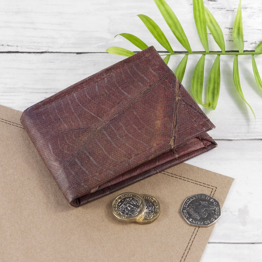 Mens Wallet in Leaf Leather - Chestnut Brown