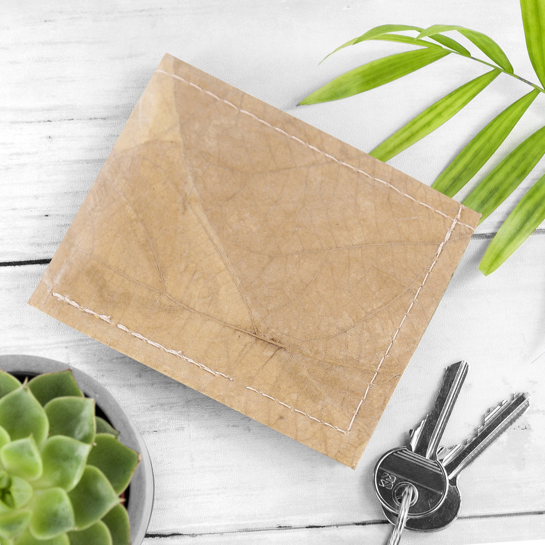 Mens Wallet in Leaf Leather - Natural