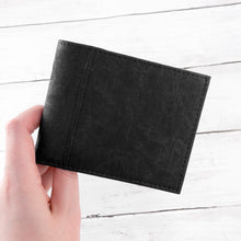Load image into Gallery viewer, Mens Black Wallet - Natural Vegan Cork Leather - Stylish, Eco Friendly and Sustainable - Perfect for Fathers Day