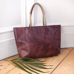 Leaf Leather Tote in Leaf Leather - Chestnut Brown