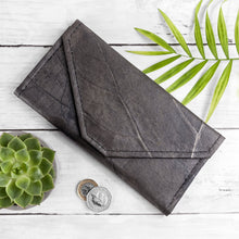 Load image into Gallery viewer, Ladies Continental Wallet in Leaf Leather - Pebble Black