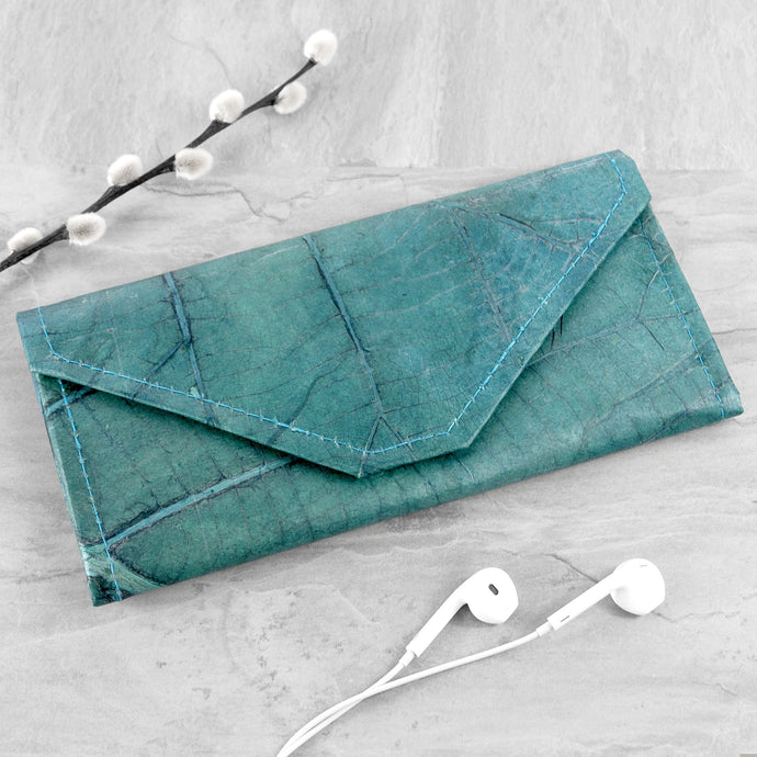 Ladies Continental Wallet in Leaf Leather - Teal