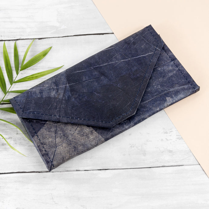 Ladies Continental Wallet in Leaf Leather - Midnight Blue