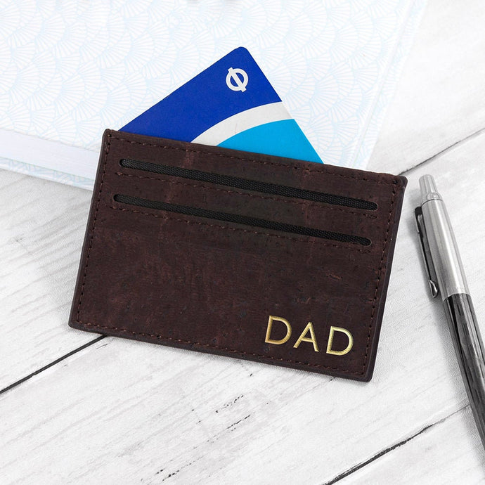 Personalized Card Wallet - Natural Vegan Cork Leather - Stylish, Eco Friendly and Sustainable - Perfect for Fathers Day