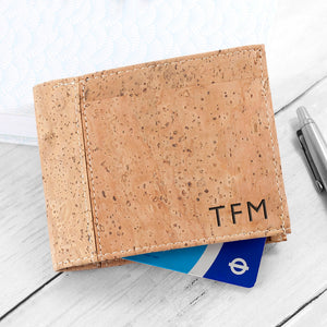 Personalised Mens Wallet - Natural Vegan Cork Leather - Stylish, Eco Friendly and Sustainable - Perfect for Fathers Day