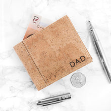 Load image into Gallery viewer, Personalised Mens Wallet - Natural Vegan Cork Leather - Stylish, Eco Friendly and Sustainable - Perfect for Fathers Day