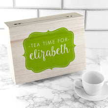 Load image into Gallery viewer, Time For Tea! Coloured Personalised Wooden Tea Box