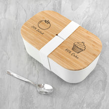 Load image into Gallery viewer, Bamboo Lunch Box - Salad and Cake Design