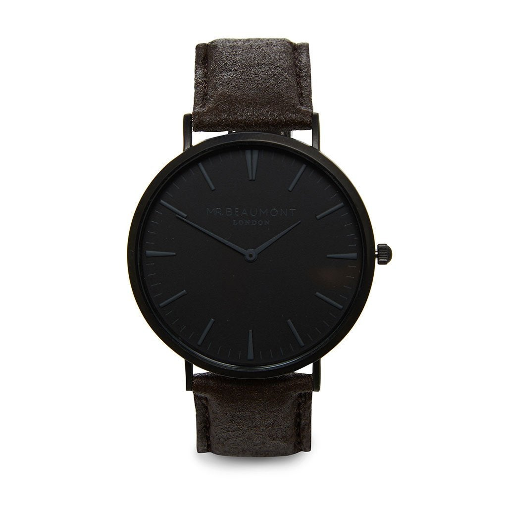 Personalised Vegan Leather Black Men's Watch with Black Watch Face