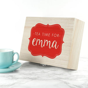 Time For Tea! Coloured Personalised Wooden Tea Box
