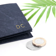 Load image into Gallery viewer, Personalised Mens Navy Wallet - Natural Vegan Cork Leather - Stylish, Eco Friendly and Sustainable - Perfect for Fathers Day - Embossed