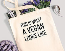 Load image into Gallery viewer, This Is What A Vegan Looks Like - 100% Cotton Canvas Bag