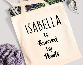 Personalised Tote Bag - Powered by Plants - 100% Cotton Canvas Bag