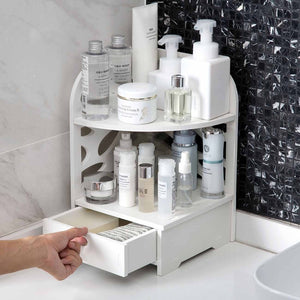 Bathroom Organizer Wood Shelf Desktop Storage Rack