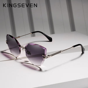 Sunglasses Women Rimless Vintage Alloy Frame