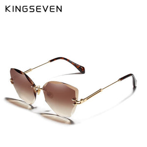 Women Rimless Vintage Alloy Frame Sunglasses