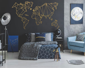 Geometric World Map Wall Sticker