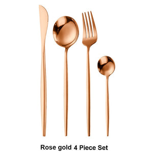 Stainless Steel 4Pcs/set Black Gold Cutlery Set
