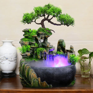 Waterfall Ornaments Small Rockery Flowing Water Feng Shui Wheel Greenery Home Decoration Humidifier