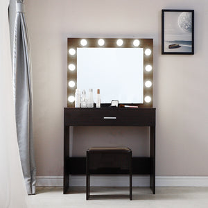 Vanity Set With Lighted Mirror Cushioned Stool