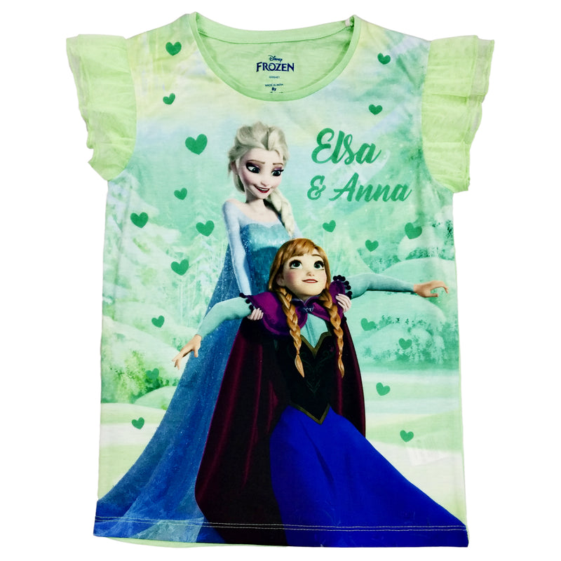 Frozen Green Color Girls Half Sleeves T-Shirt - STY-18-19-000140 Bioworld