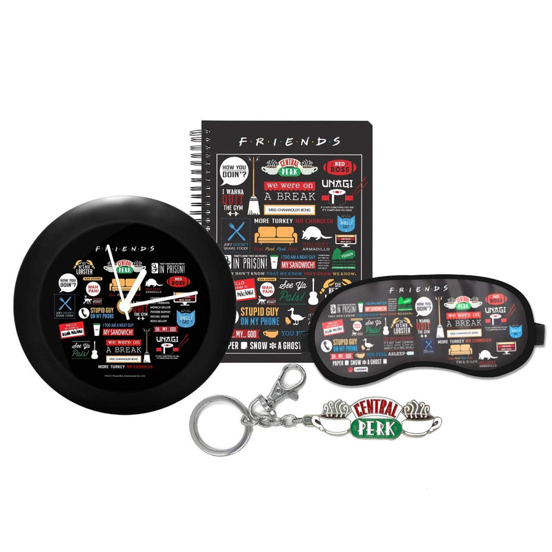 Friends Combo Pack of 4 - Infographic Table clock + infographic Notebook + Infographic Eye Mask + Central perk key chain