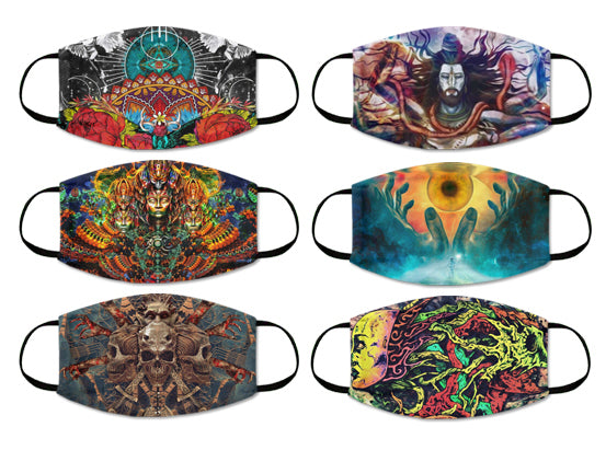 Psychedelic Art 2 Ply Cloth Mask Washable Reusable Pack Of 6 - For Adults