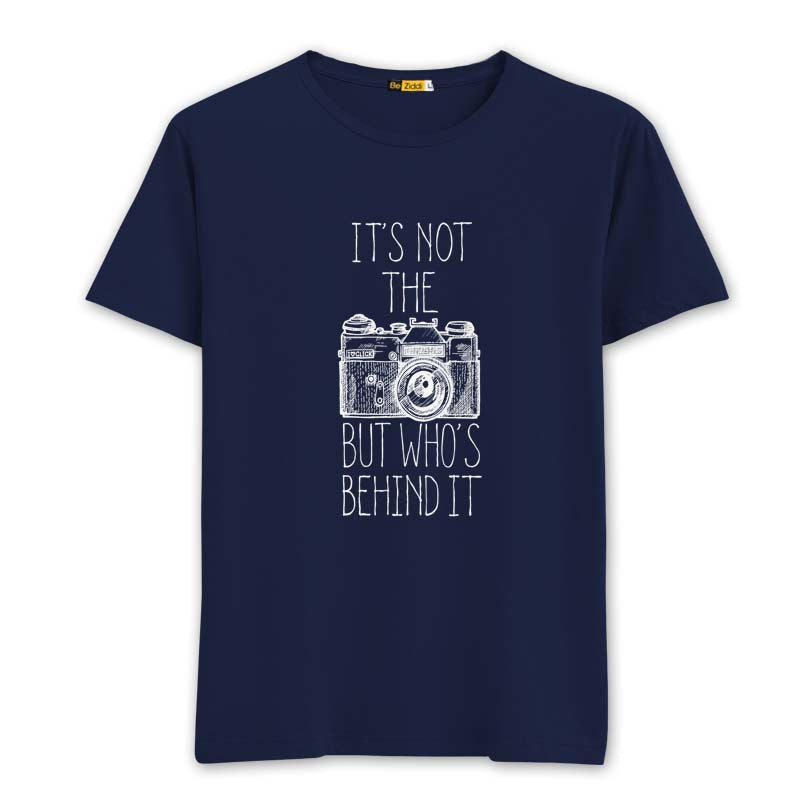 Behind the camera Round neck T-shirt - Navy Blue