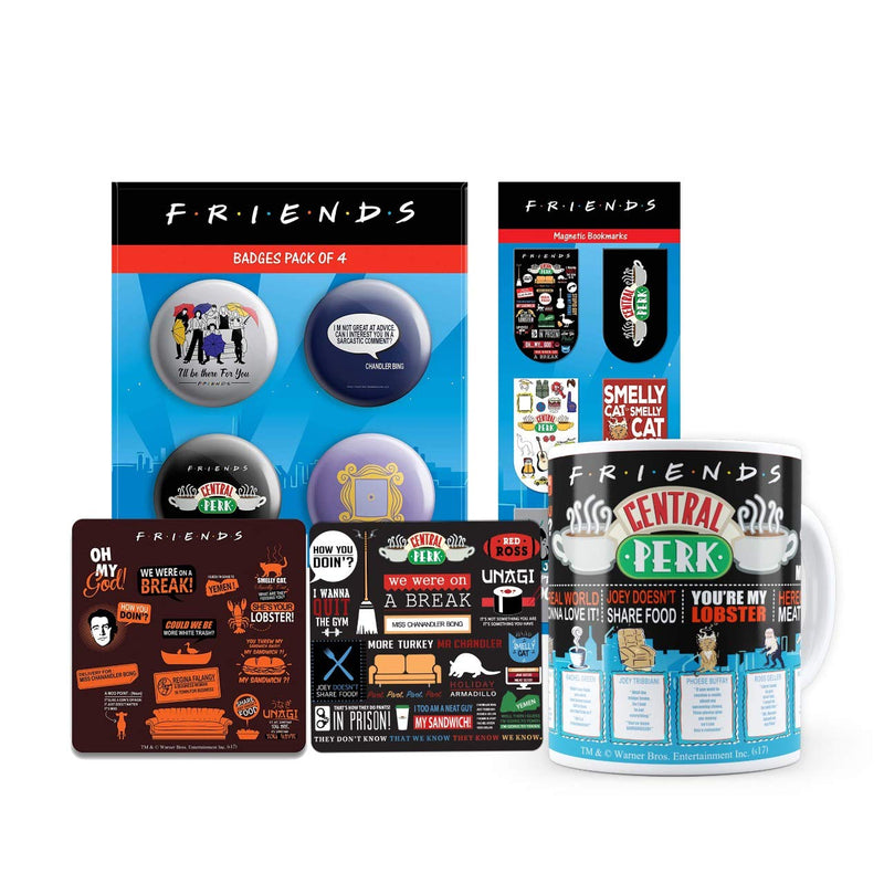 Friends Combo Pack of 5 - Infographic coaster + Orange Coaster + Badge + Quote Mug + Bookmarks