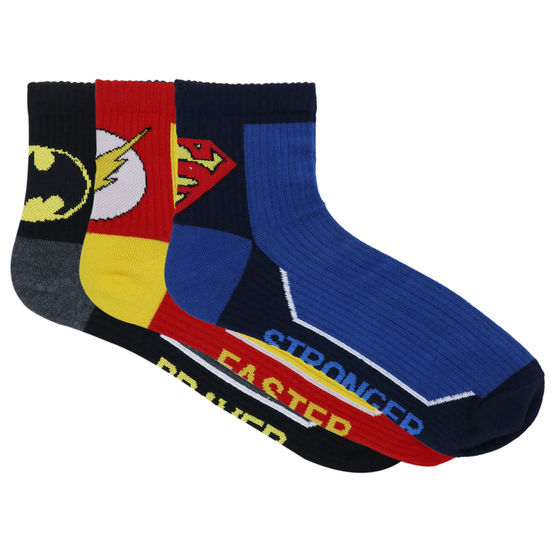 Justice League Men's Cotton High Ankle Sports Rib Socks - Pack of 3