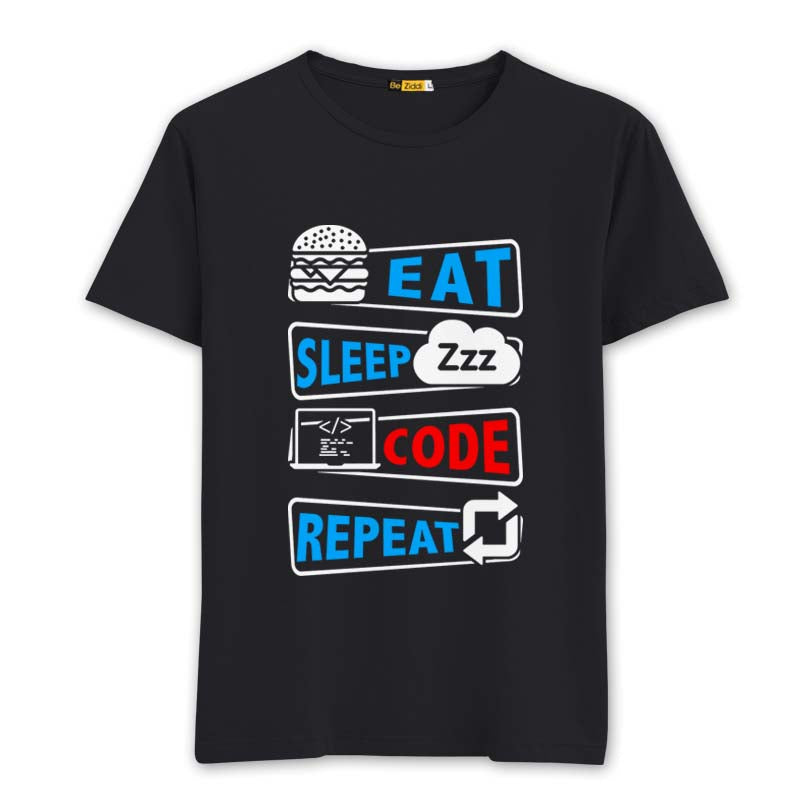 Eat sleep Repeat Round neck T-Shirt - Black