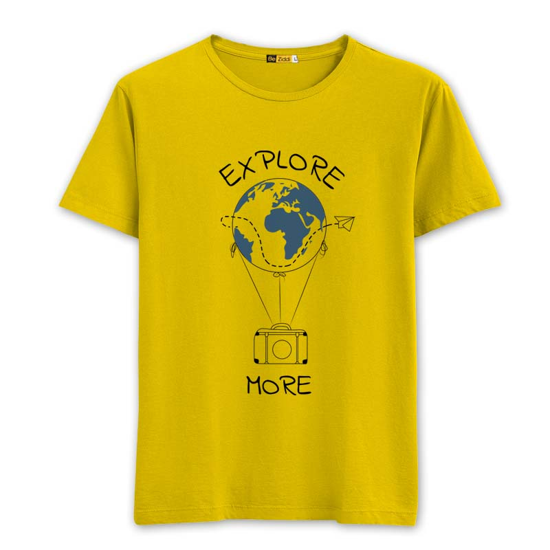 Explore More Round neck T-Shirt - Sunrise yellow