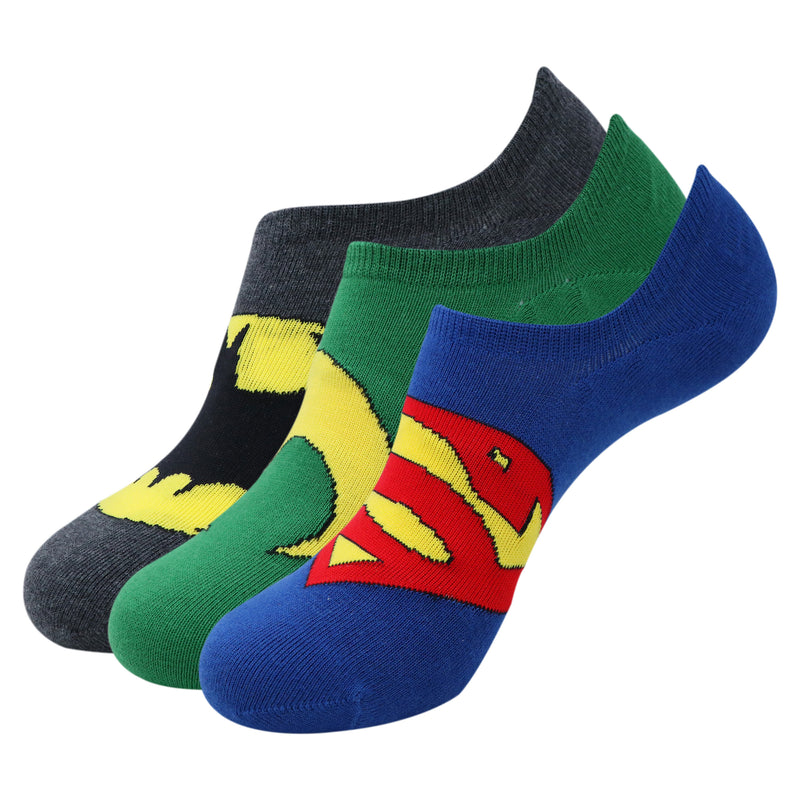 Justice League Men's Cotton Sneaker Socks with Anti Slip Silicon - Pack of 3